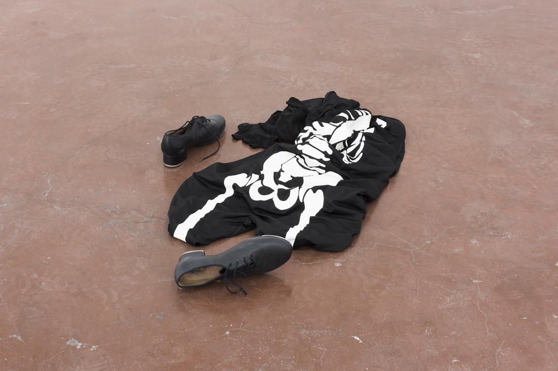 Latifa-Echakhch,-Untitled-(Dancer),-2013,-Skeleton-costume,-tap-shoes,-60-cm-diam,-unique